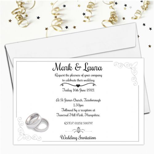 10 Personalised Silver Rings Wedding Invitations Day / Evening N55
